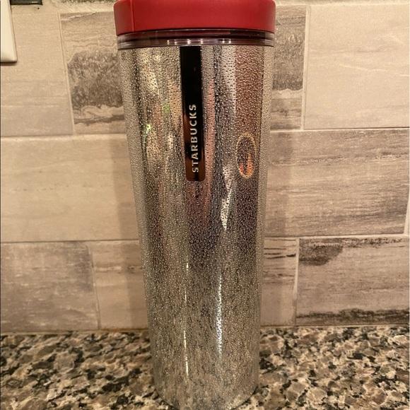 2013 Starbucks Metallic Silver Droplet Texture Tumbler Cup 16 oz Rare